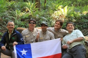 Chilean delegation takes a break while hiking in the heart of Redwood National Park