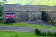 Union Jack flying in the Yorkshire Dales National Park to celebrate the start of the 2012 Olympics.
