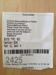 My real ticket printed at the ballpark