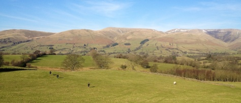 Playing football in the field with the Howgills in the distance