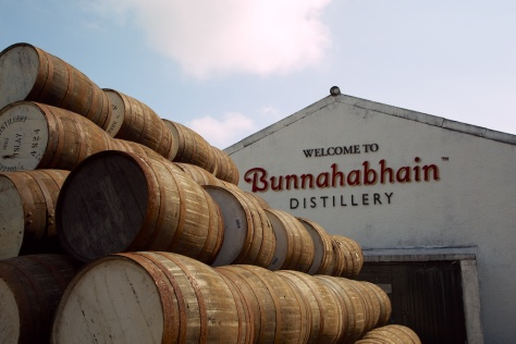 Barrels waiting to be filled at Bunnahabhain