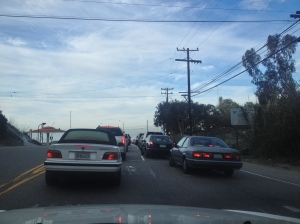 Traffic waiting to get on to PCH