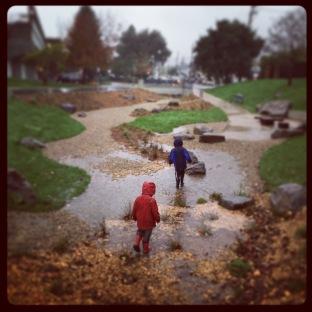 playing in the rain garden