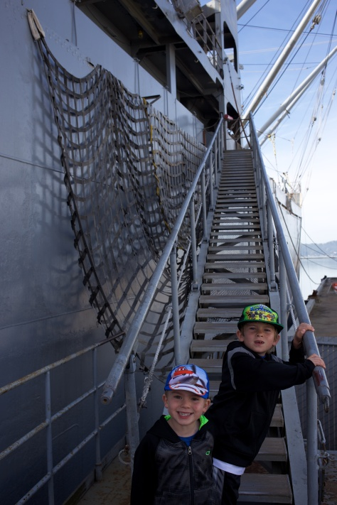 Young mariners boarding the SS Red Oak Victory